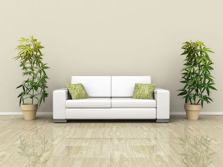 An illustration of a white sofa with plants illustration