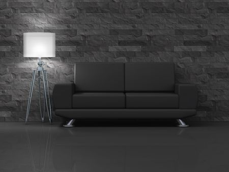 An illustration of a black room with a black sofa Stock Illustration - 5205785