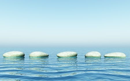 An illustration of step stones in the sea Stock Illustration - 5205788