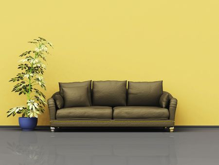 An illustration of a nice leather sofa with a plant illustration
