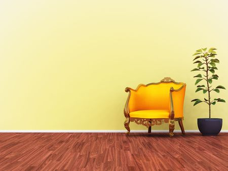 An illustration of a yellow room with a yellow sofa illustration