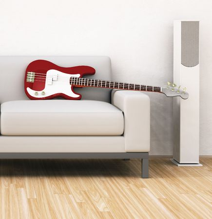 An illustration of a sofa with a guitar illustration