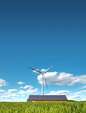 A photography of a wind mill and solar panels photo