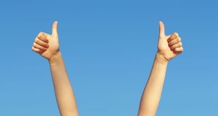 A photography of two hands thumbs up Stock Photo - 5423366