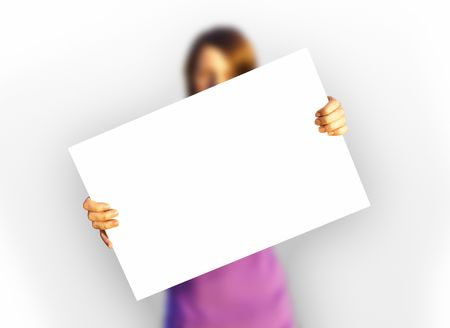 holding blank sign: A photography of a girl holding a white paper