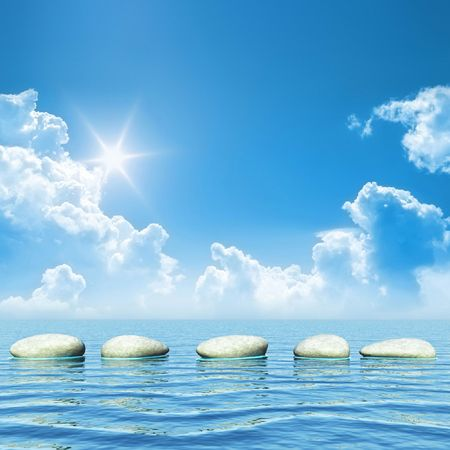 An illustration of some step stones in the ocean Stock Illustration - 5471513