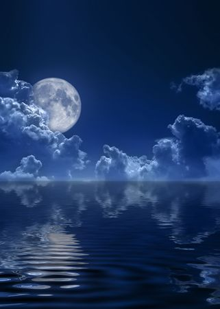 The dark blue sky and the full moon Stock Photo - 5569635