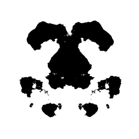 An illustration of a black and white Rorschach graphic illustration