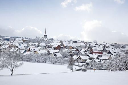 winter village snow land photo