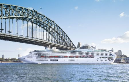 A photography of a cruise ship passing Sydney Harbour Bridge photo