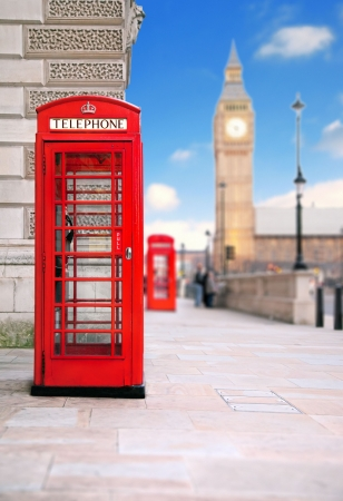 english famous: A photography of a red phone box in London UK