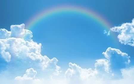 A photography of a sky with a rainbow background