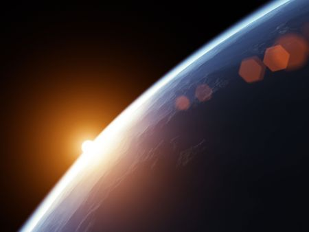 An illustration of a nice deep space planet background Stock Illustration - 6902891