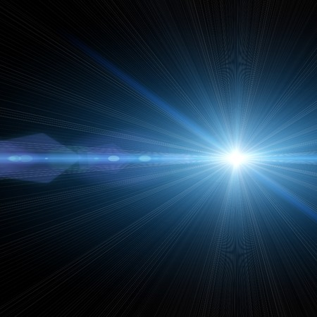light rays: An illustration of a bright star in the sky Stock Photo