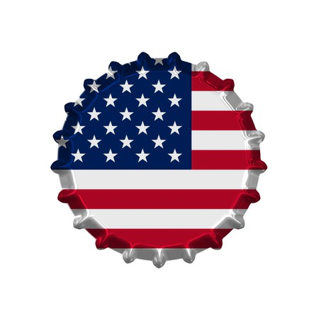metall: An illustration of a bottle cap with a country sign america Stock Photo