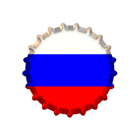 An illustration of a bottle cap with a country sign Russia illustration