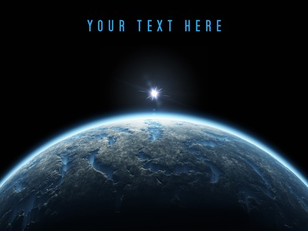 A nice deep space planet background with copy space for your text photo