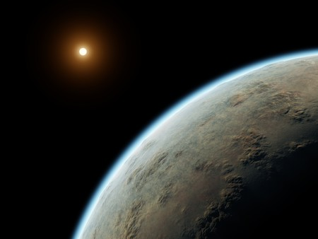 An illustration of a nice deep space planet with a red sun Stock Illustration - 6967102