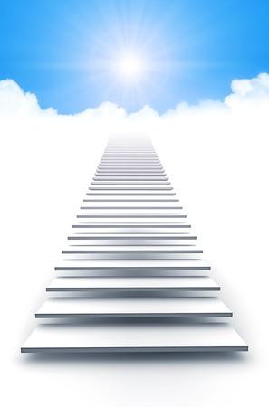 stair: Een afbeelding van een witte trap naar de hemel