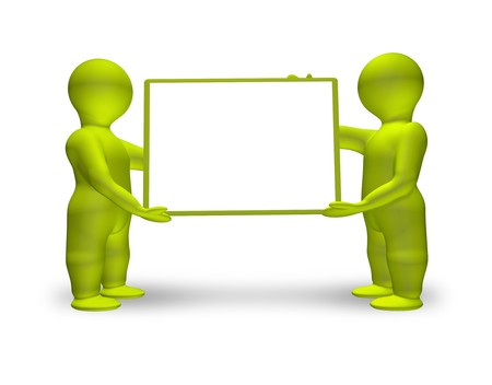 An image of two men holding a white board photo