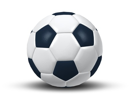 leather goods: An image of an isolated typical black and white soccer ball Stock Photo