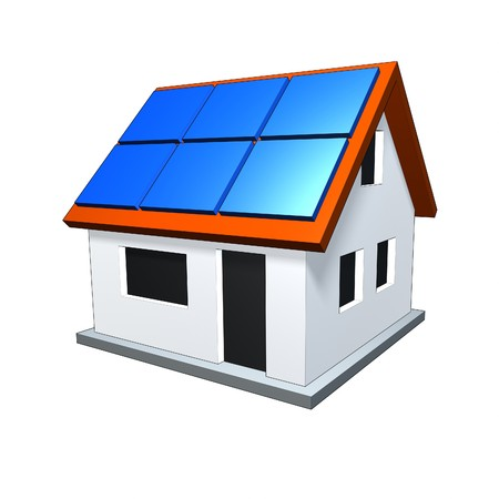 An image of a nice house with solar panels photo