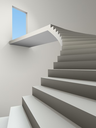 An image of a stairway to heaven with special volumetric lighting photo