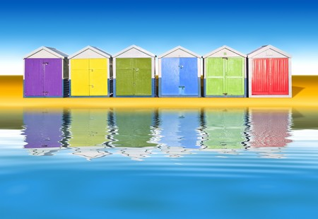 beach hut: An image of colorful little beach huts Stock Photo