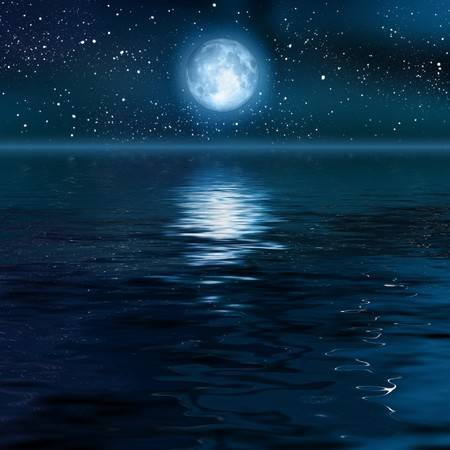 horizon reflection: An image of a beautiful full moon background Stock Photo