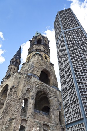 bombed city: An image of the Kaiser Wilhelm Gedächniskirche Stock Photo
