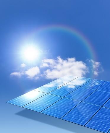 An image of a nice solar panel with a rainbow photo