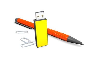 usb stick: An image of a ballpen and a usb stick