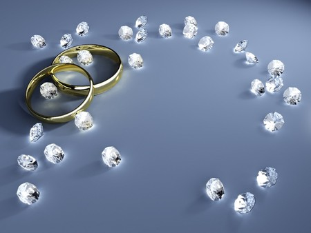A wedding background with golden rings and diamonds