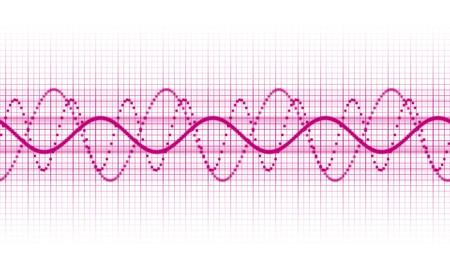high volume: a pink sound wave on white background Stock Photo