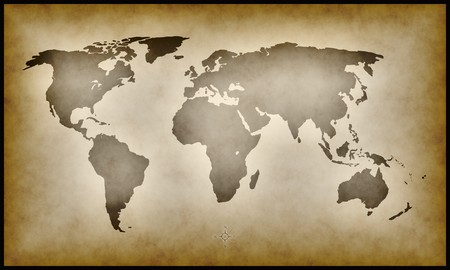terra: An illustration of an old earth map Stock Photo