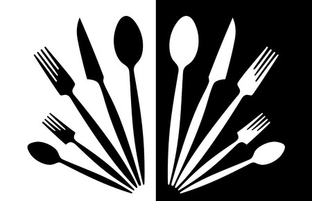 A set of tableware black and white photo