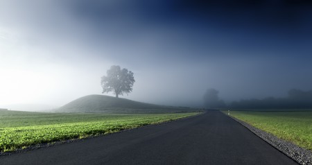 An image of a beautiful landscape with fog in bavaria germany photo