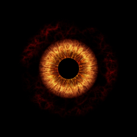 eye closeup: a nice dark devil eye with fire iris Stock Photo