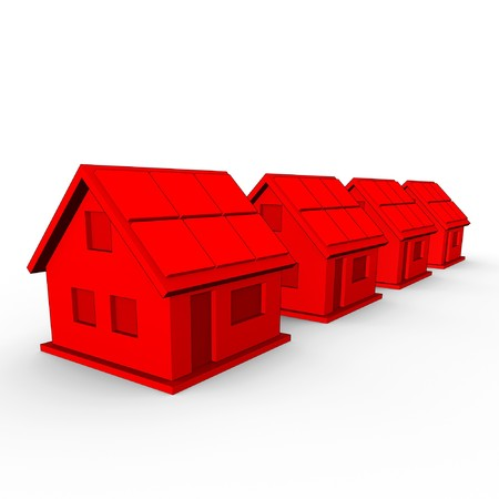 row houses: a real estate concept image of 4 red houses in a row Stock Photo