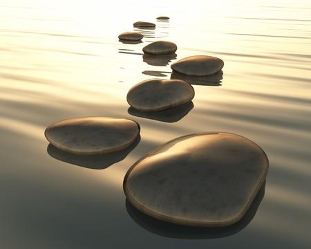 steine im wasser: Ein Bild des goldenen Licht Schritt Steine Lizenzfreie Bilder