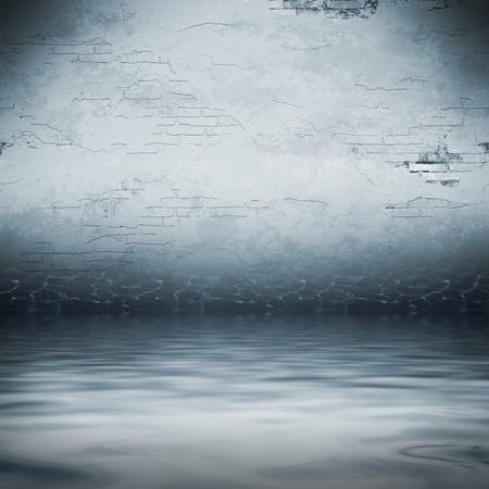 An image of a dark cellar under water photo