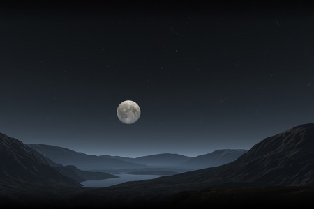 An image of a night landscape with a full moon photo