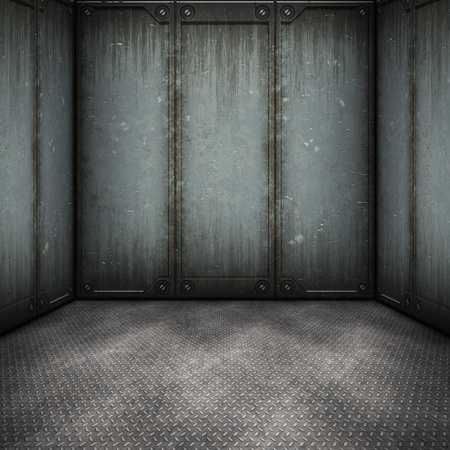 rusty metal: An image of a dark steel room background Stock Photo