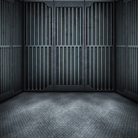 abandoned warehouse: An image of a dark steel room background Stock Photo