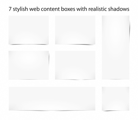 7 stylish web content boxes with a realistic shadow Stock Photo