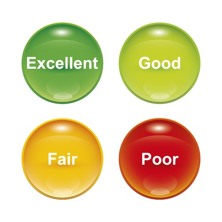 white check mark sign: A set of four survey icons red yellow green Stock Photo