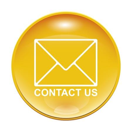 sobres para carta: Una imagen de un amarillo Cont�ctenos icono Foto de archivo