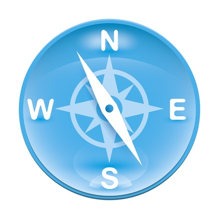 An image of a blue wind rose icon photo