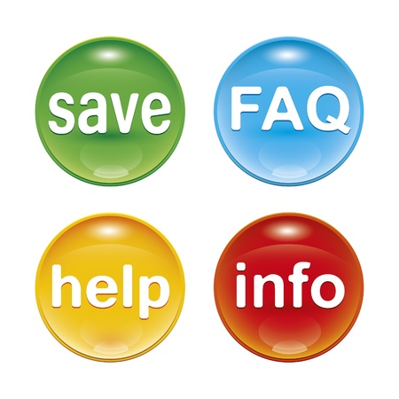 help button: four glossy web icons with the word save FAQ help info