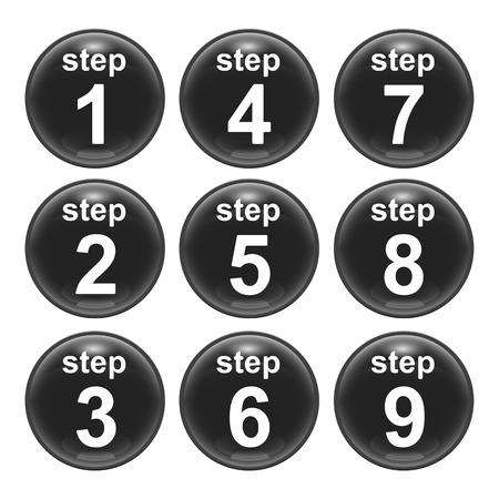 number button: A set of glossy web icons step 1 to 9